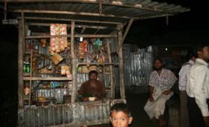 solar lighting at rural shop