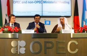 Russia's Energy Minister Novak, OPEC President al-Sada and Saudi Arabia's energy minister al-Falih address a news conference after a meeting in Vienna